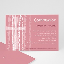 Faire-part Communion Fille - Croix Contemporaine Rose - 3
