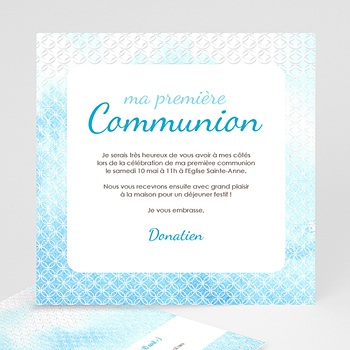 Faire-part Communion Garçon - Effet d'eau Bénite - 3