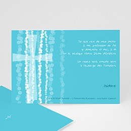 Faire-part Communion Garçon - Croix Contemporaine Bleue - 3