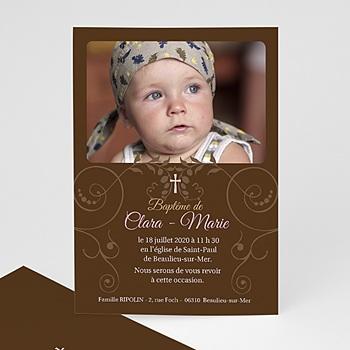 Faire-part Baptême Fille - Baptismal Marron - 3
