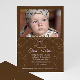Faire-part Baptme Fille - Baptismal Marron - 3