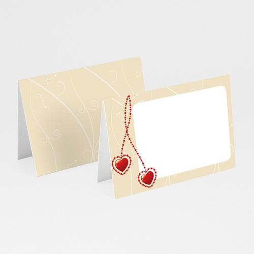 Faire-Part Mariage Personnalisés - Pendentifs Coeurs Rouges 12834