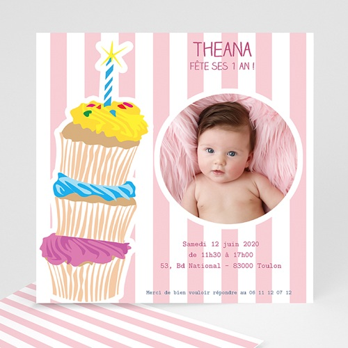 Invitations Anniversaire Fille - 3 bougies et 3 muffins 1370