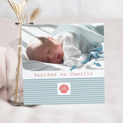 Faire-part Baptême Fille - Marin Coquillage 14144