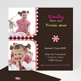 Invitations Anniversaire Fille - 1,2,3 soleil - rose - 3