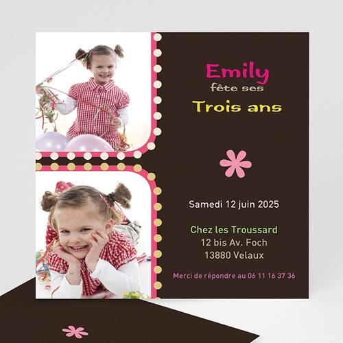 Invitations Anniversaire Fille - 1,2,3 soleil - rose 1418