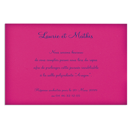 Cartons d'Invitation traditionnels - Carte de lunch fuschia - 2