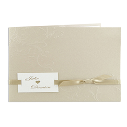 Faire-part Mariage Traditionnels - Taupe avec arabesques ruban beige - 3