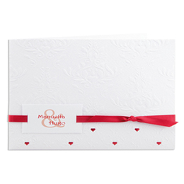 Faire-part Mariage Traditionnels - Blanc arabesque relief et coeur - 3