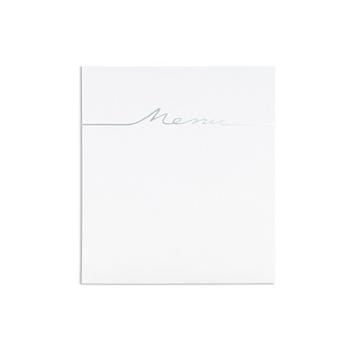 Menus Mariage traditionnels - blanc arabesque relief et coeur - 3