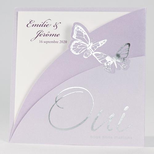 Faire-Part Mariage Traditionnel - Papillons Violets 15087