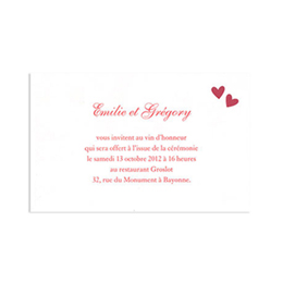 Cartons d'Invitation traditionnels - Deux coeurs Rouges - 1