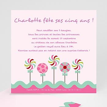 Invitations Anniversaire Fille - Sucre d'orge - 3