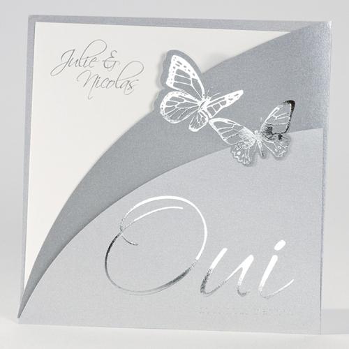 Faire-Part Mariage Traditionnel - Papillons d'argent 15302