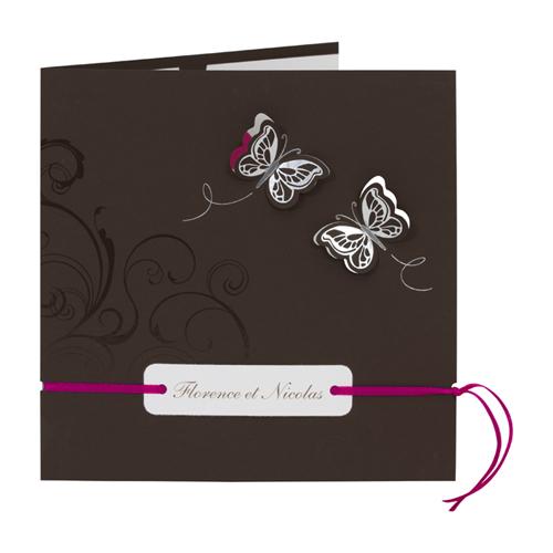 Faire-Part Mariage Traditionnel - Papillons chocolat 15304