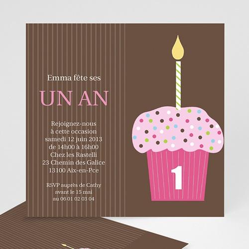Invitations Anniversaire Garçon - Cupcakes à la fraise 1538