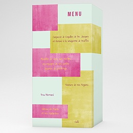 Menus Mariage Personnaliss - Mari&eacute;s Fluo - 3