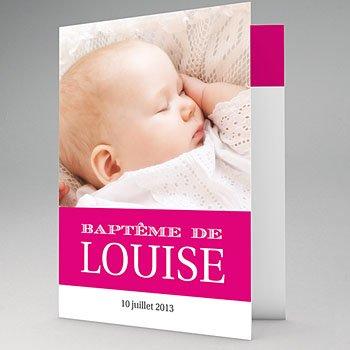 Faire-part Baptême Fille - Typo Rose - 1