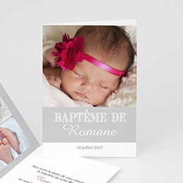 Faire-part Baptme Fille - Typographie - 1