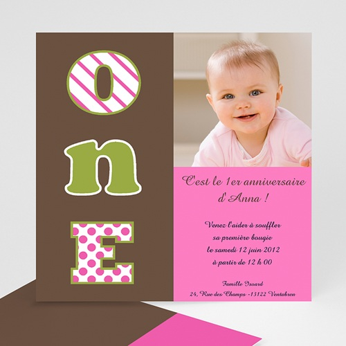 invitation anniversaire pour les 1an de votre fille. Black Bedroom Furniture Sets. Home Design Ideas
