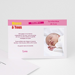Remerciements Naissance Fille - Télé bébé - 1