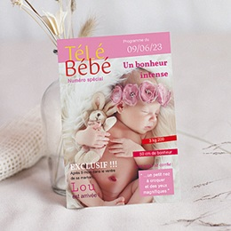 Faire-part Naissance Fille - T&eacute;l&eacute; b&eacute;b&eacute; - 1