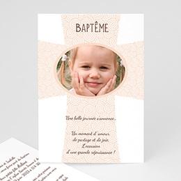 Faire-part Baptême Fille - Croix d'or - 1