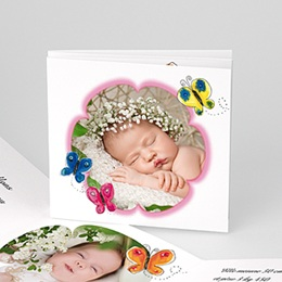 Faire-Part Naissance Fille - La fleur rose du papillon - 1