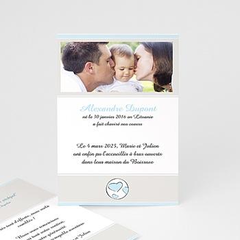 Faire-part Adoption Garçon - Parents Bénits - Bleu ciel - 1