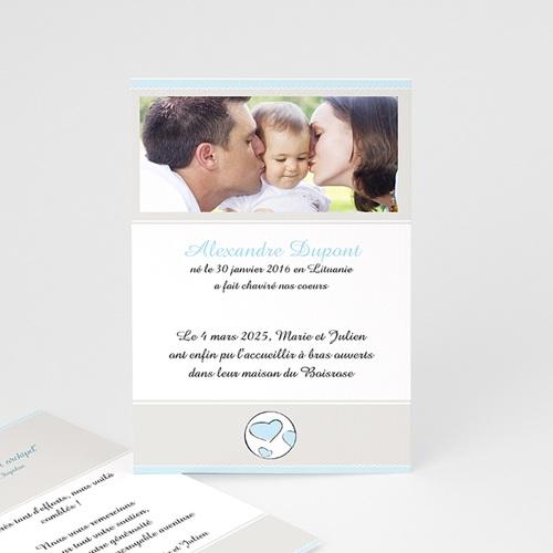 Faire-part Adoption Garçon - Parents Bénits - Bleu ciel 16551