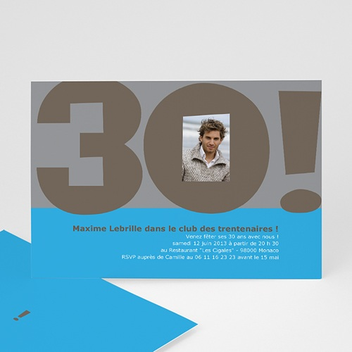 carte d 39 invitation anniversaire 30 ans pour homme. Black Bedroom Furniture Sets. Home Design Ideas