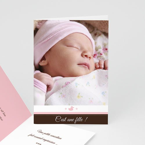 Faire-part Adoption Fille - Naissance fille - rose 16760