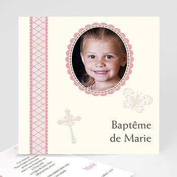 Faire-part Baptême Fille - Baptême Rétro - Fille - 1