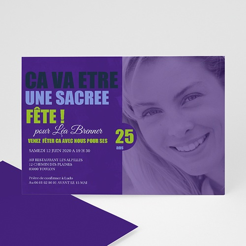 Invitation Anniversaire Adulte - Ombre Violette 1754