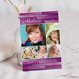 Invitation Anniversaire Adulte - Multiphotos et rayures - 3