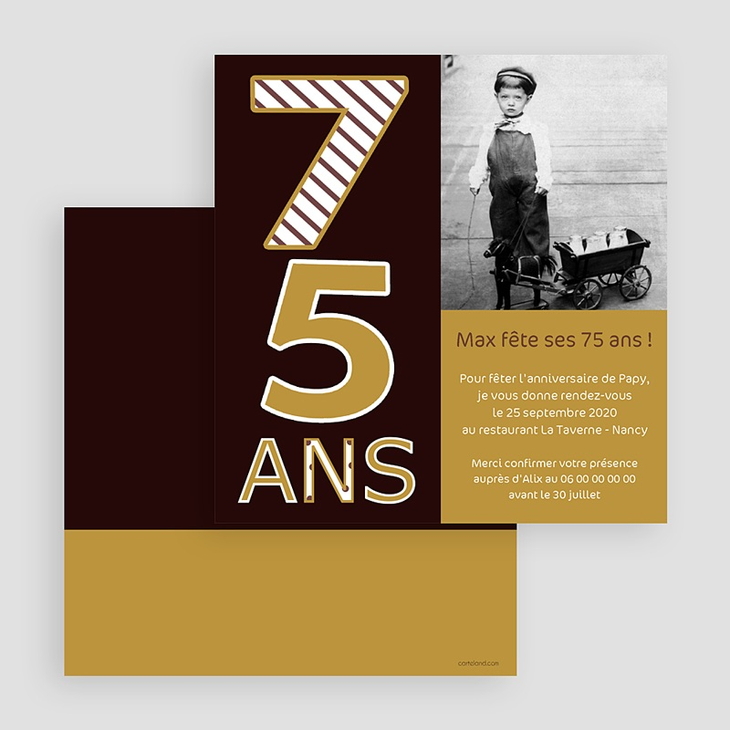 invitation anniversaire adulte couleur or 75 ans. Black Bedroom Furniture Sets. Home Design Ideas
