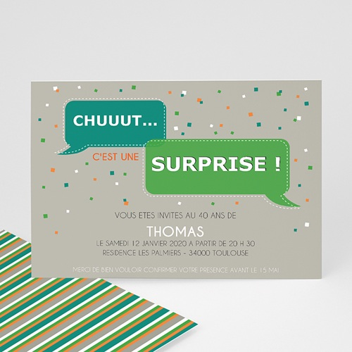 Invitation Anniversaire Adulte - Chut ! Surprise 1858