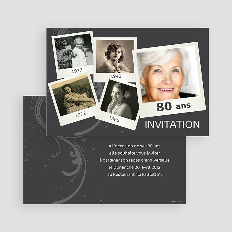 invitation anniversaire adulte retrospective. Black Bedroom Furniture Sets. Home Design Ideas