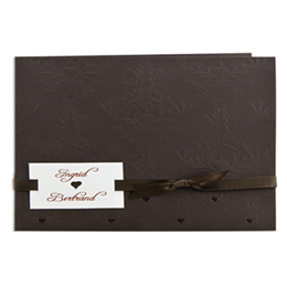 Faire-part Mariage Traditionnels - Chocolat, arabesques et coeur - 3