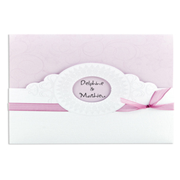 Faire-part Mariage Traditionnels - Style croco rose p&acirc;le avec d&eacute;coupe ronde - 3