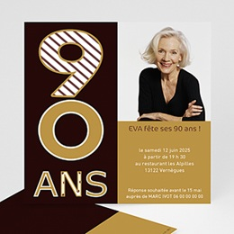 Invitations Anniversaire Adulte - 90 ans en Or - 4