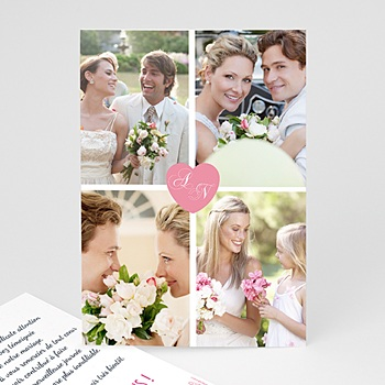Remerciements Mariage Personnalisés - 4 photos & 1 coeur - 4