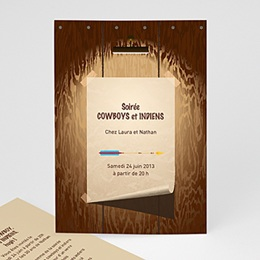 Invitations Anniversaire Adulte - CowBoy et Indiens - 1