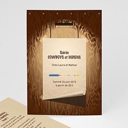 Invitation Anniversaire Adulte - CowBoy et Indiens - 1