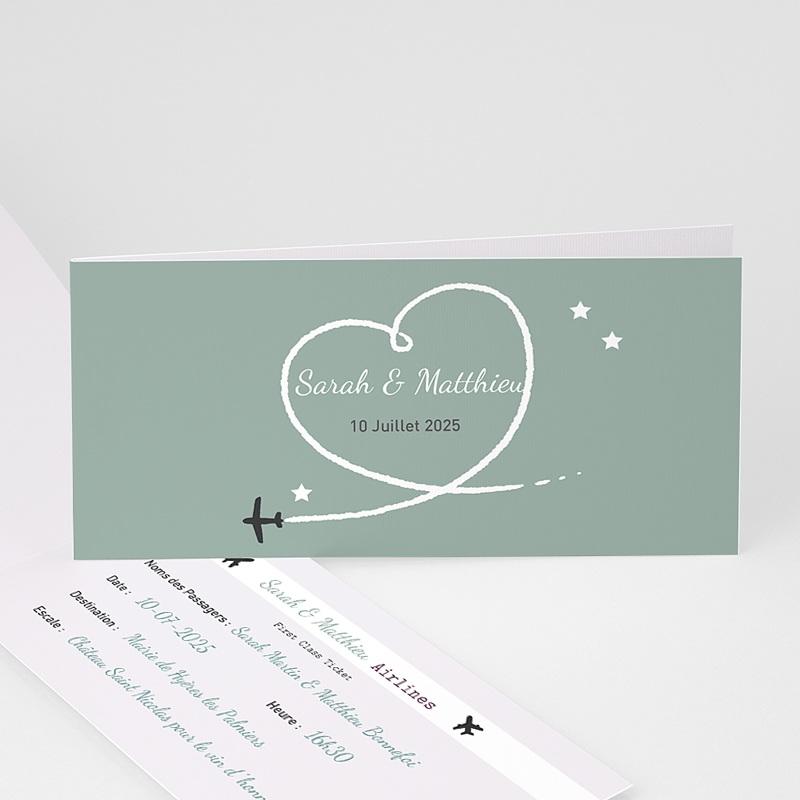 faire part mariage personnaliss destination bonheur 4 billet davion - Faire Part Mariage Billet D Avion