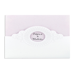 Faire-part Mariage Traditionnels - Style croco rose pâle - 3