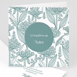 Faire-part Baptme Garon - Invitation Florale - 1