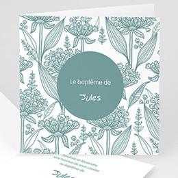 Faire-part Baptême Garçon - Invitation Florale - 1