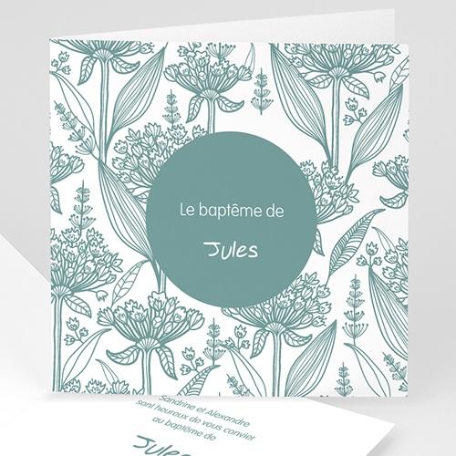 Faire-part Baptême Garçon - Invitation Florale 22107