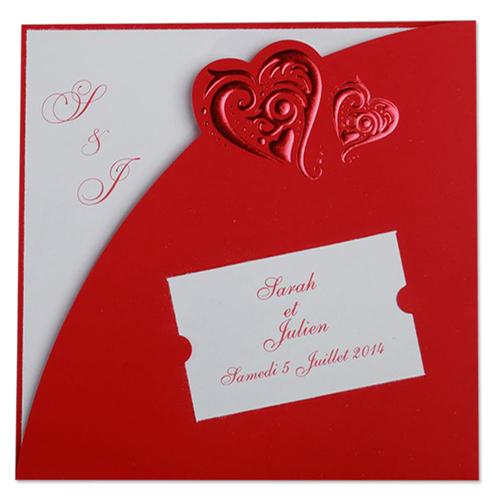 Faire-Part Mariage Traditionnel - Billet à coeurs rouges 22213
